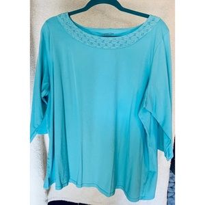 Coldwater Creek Teal Knitted Collar 3/4 Sleeve Top